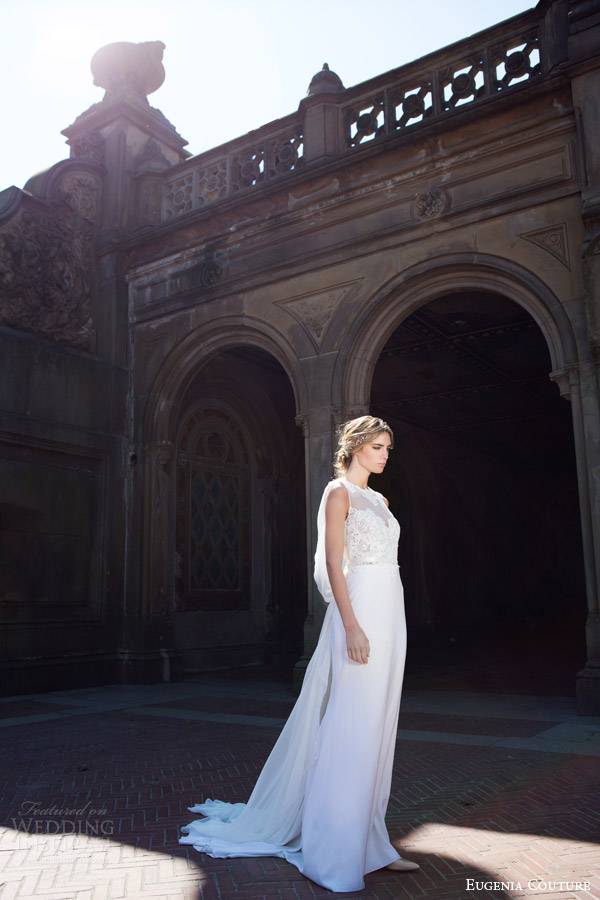 eugenia couture bridal spring 2016 campaign harmony sleeveless wedding dress draped back