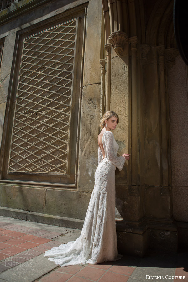 eugenia couture bridal spring 2016 campaign fiona flared long sleeve mermaid wedding dress open back view