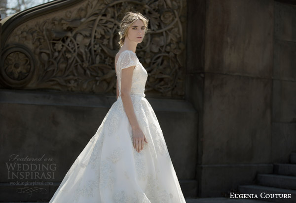 eugenia couture bridal spring 2016 campaign sylvia illusion neckline short sleeve ball gown wedding dress side view