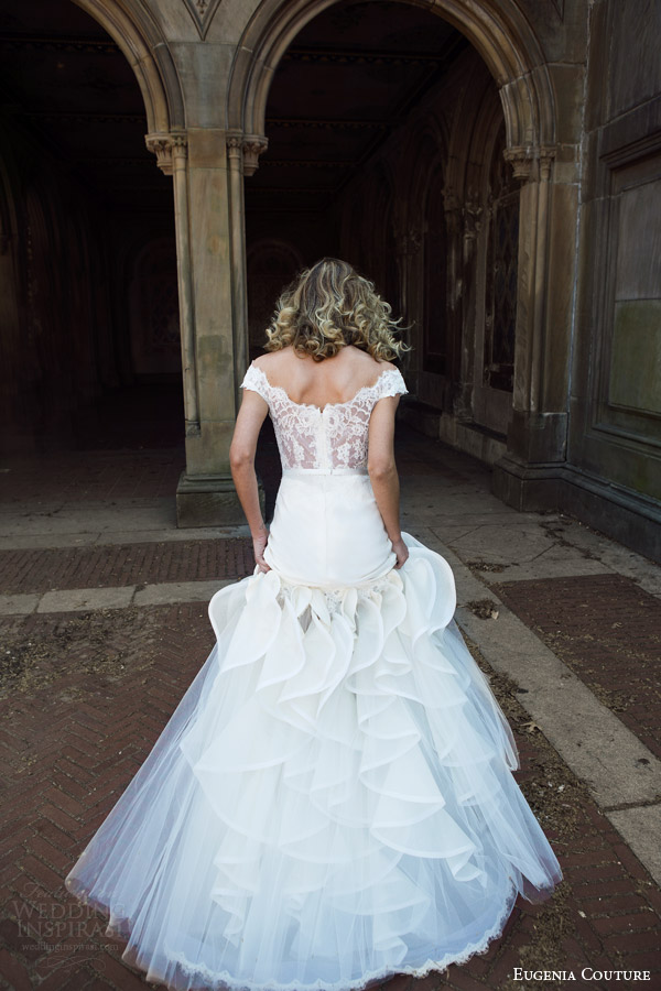 eugenia couture bridal spring 2016 campaign nia sleeveless mermaid wedding dress lace straps back view train