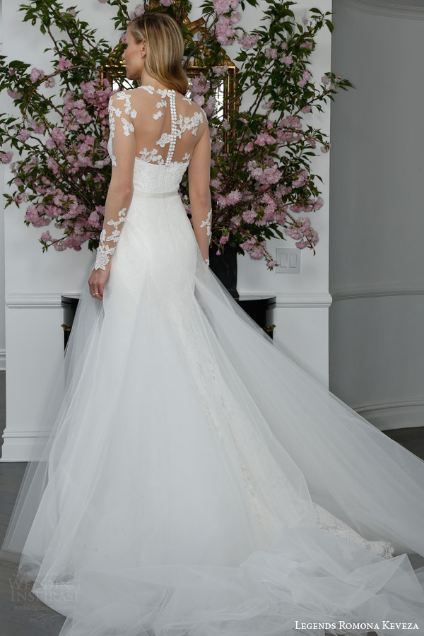 legends romona keveza bridal spring 2016 l6103 re embroidered lace trumpet wedding dress illusion long sleeve illusion net bodice shown overskirt b