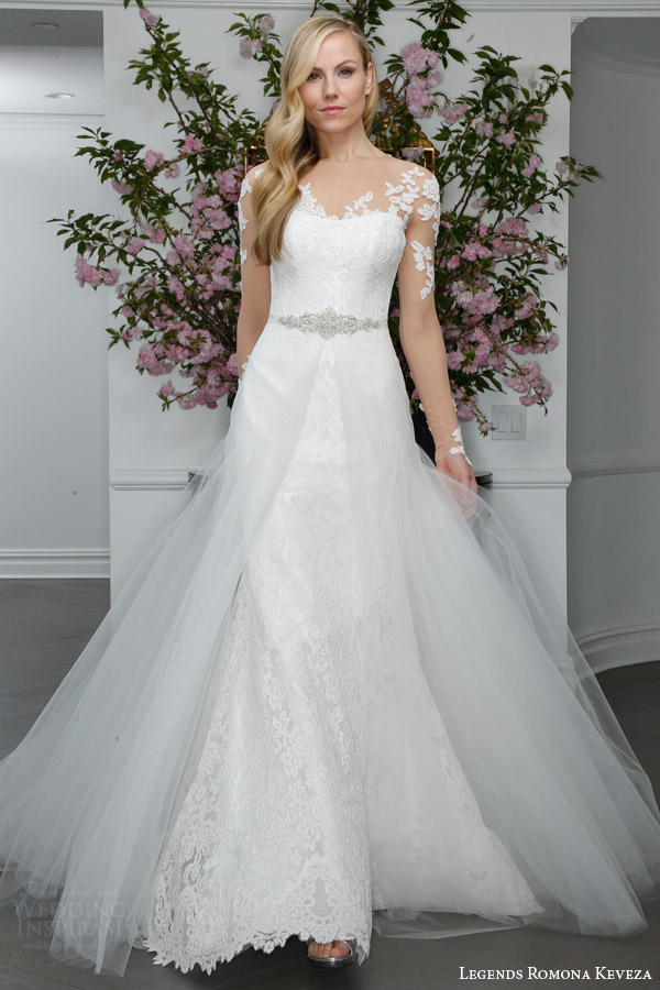 legends romona keveza bridal spring 2016 l6103 re embroidered lace trumpet wedding dress illusion long sleeve illusion net bodice with overskirt