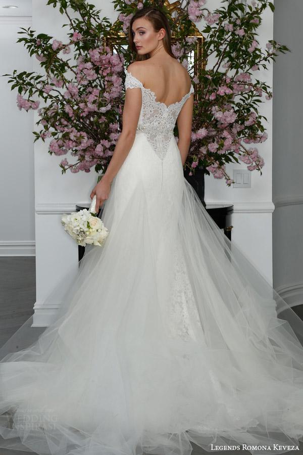 legends romona keveza bridal spring 2016 l6104 off shoulder re embroidered lace fluted trumpet wedding dress shown with overskirt back