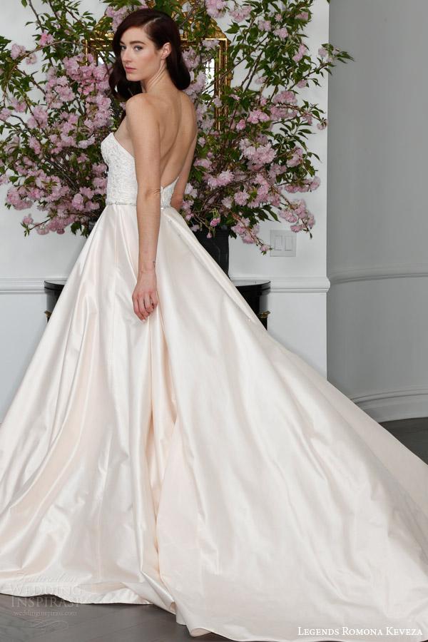 legends romona keveza spring 2016 bridal l6109 strapless sweetheart silk shantung tafetta ball gown wedding dress guipure bodice beaded belt back