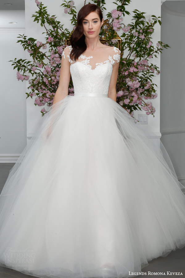 legends romona keveza spring 2016 bridal l6105 english tulle ball gown wedding dress illusion net bodice lace appliques satin bow belt