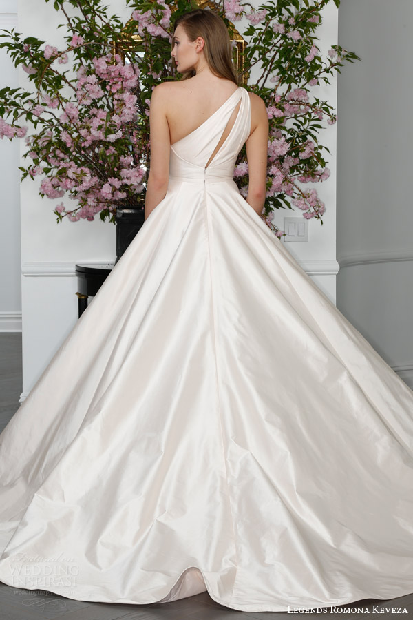 legends romona keveza spring 2016 bridal l6108 one shoulder silk shantung tafetta ball gown wedding dress keyhole back