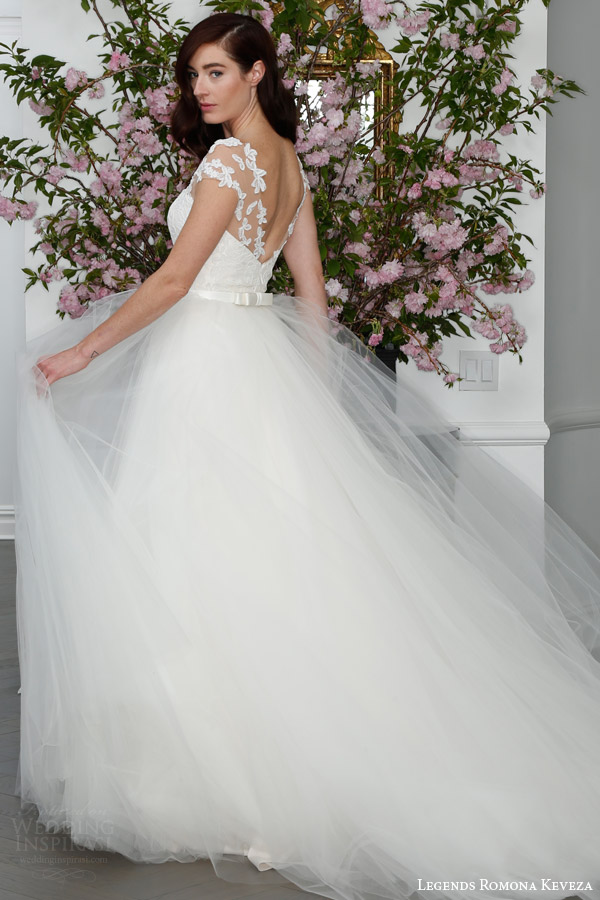 legends romona keveza spring 2016 bridal l6105 english tulle ball gown wedding dress illusion net bodice lace appliques satin bow belt back