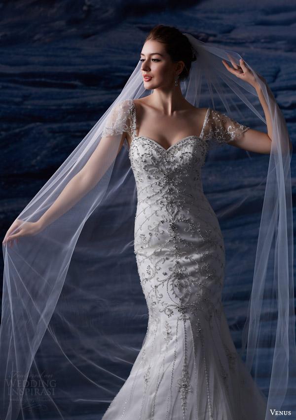 venus bridal fall 2015 venus collection ve8205 wedding dress beaded mermaid dress illusion flutter sleeves