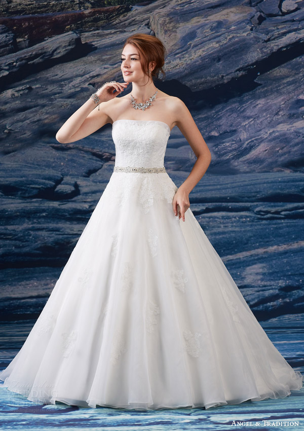 venus bridal fall 2015 angel tradition at4613 strapless wedding dress lace bodice beaded natural waist