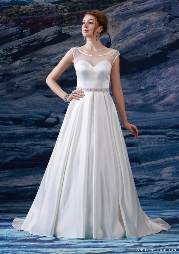 venus bridal fall 2015 angel tradition at4616 illusion bateau neckline cap sleeve satin sweetheart bodice beaded waist a line box pleat skirt