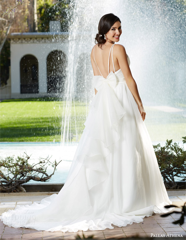 venus bridal fall 2015 pallas athena pa9215 sweetheart neckline rouched bodice beaded straps beaded belt back view bow