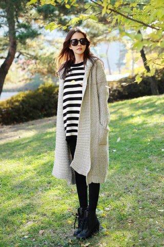 要温暖也要美丽 长款毛衣外套暖心搭配