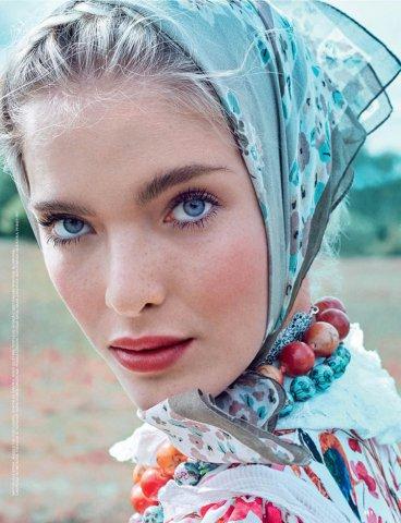 超模Anastasia Kolganova 演绎《Allure》时尚杂志 乡村风美妆大片