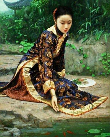 中国古典女性油画作品欣赏