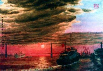 水墨画家黄名纯2009年作品《烟雨漓江》
