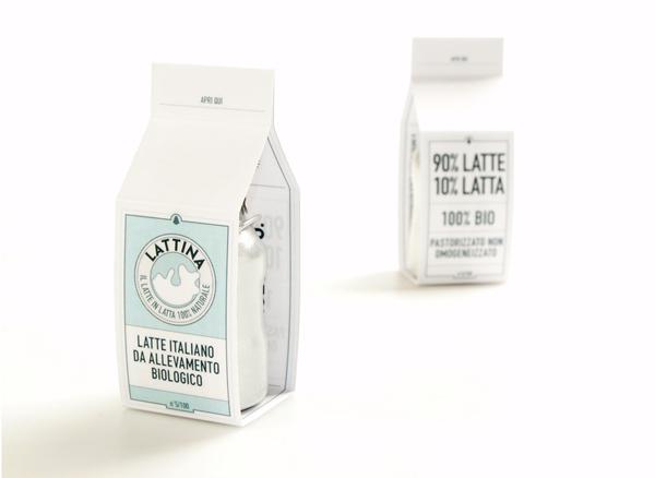 白色的LATTINA© 纯牛奶包装设计