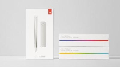 高科技的Adobe Ink压力感应电子笔和Slide电子绘图尺包装设计