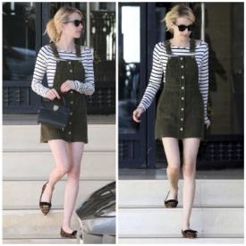 Emma Roberts纽约出街 背带裤十足甜美少女气息