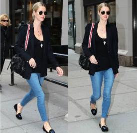 Nicky Hilton纽约街拍 小西装+牛仔裤尽显优雅