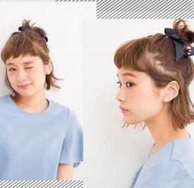 短发可以扎什么发型 双马尾+俏皮半丸子头