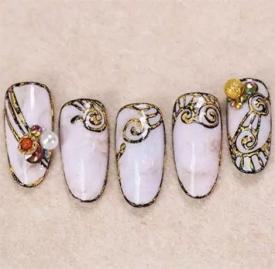 石纹美甲的做法 复古石纹美甲教程