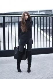 经典黑色毛衣穿搭 这样穿谁还敢说不时髦