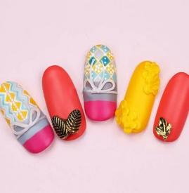 蝴蝶结浮雕美甲教程 可爱的波西米亚风