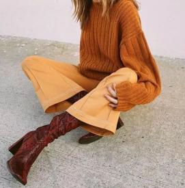毛衣和阔腿裤怎么搭配好看 大毛衣下面配什么裤子好看