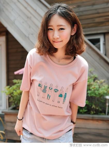 糖色T恤的果味春夏