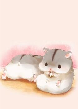 可爱小仓鼠手绘图片手机壁纸2