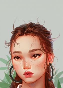 唯美女生手绘插画高清高清手机壁纸